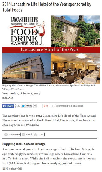 Hipping Hall nominated in this year's Lancashire Life Food and Drink awards